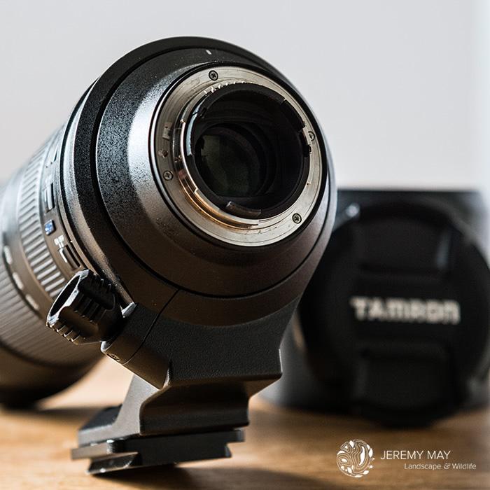 Détails de la bague de montage (monture de type F pour les reflex Nikon) et du joint d'étanchéité